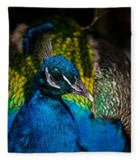 Peacock Closeup Fleece Blanket