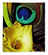 Peacock Feather And Gladiola Fleece Blanket