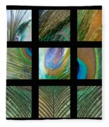 Peacock Feather Mosaic Fleece Blanket