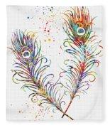 Peacock Feathers-colorful Fleece Blanket