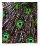 Peacock Feathers Upside Down Fleece Blanket