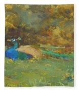 Peacock In A Garden Fleece Blanket