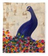 Peacock In My Garden Fleece Blanket