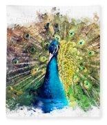 Peacock Watercolor Painting Fleece Blanket