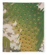 Peacocks And Cherry Tree Fleece Blanket