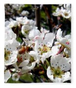 Pear Blossoms And Bee Fleece Blanket
