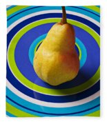 Pear On Plate With Circles Fleece Blanket