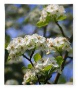 Pear Tree Blossoms Fleece Blanket