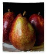 Pear Trio Still Life Fleece Blanket