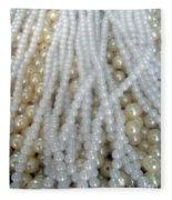 Pearl Beads - White And Beige Fleece Blanket