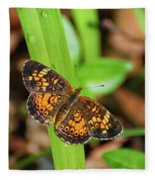 Pearl Crescent Butterfly Fleece Blanket