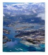 Pearl Harbor Aerial View Fleece Blanket