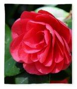 Pearl Of Beauty - Red Camellia Fleece Blanket