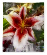 Pearly Petals Satin Leaves Fleece Blanket