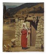 Peasant Carrying Water Fleece Blanket
