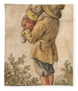 Peasant With Child Fleece Blanket