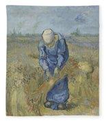 Peasant Woman Binding Sheaves After Millet Saint Remy De Provence  September 1889 Vincent Van Gogh Fleece Blanket