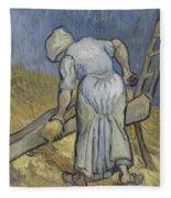 Peasant Woman Bruising Flax After Millet Saint Remy De Provence September 1889 Vincent Van Gogh  Fleece Blanket