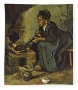 Peasant Woman Cooking By A Fireplace Fleece Blanket