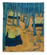 Peasants Gathered In A Sacred Wood_ Fleece Blanket