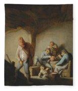 Peasants In The Interior Of An Inn Fleece Blanket