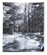 Peeling Winter Away Fleece Blanket