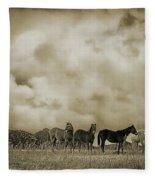 Peeples Valley Horses In Sepia Fleece Blanket
