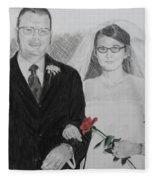 Peggy And John Taylor Wedding Portrait Fleece Blanket