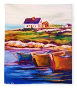 Peggys Cove  Four  Row Boats Fleece Blanket