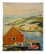 Peggys Cove  Harbor View Fleece Blanket