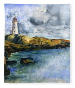 Peggy's Cove Lighthouse Landscape Fleece Blanket