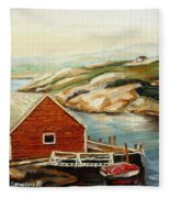 Peggys Cove Nova Scotia Landmark Fleece Blanket