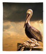 Pelican After A Storm Fleece Blanket