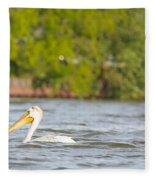 Pelican Drifting Along Fleece Blanket