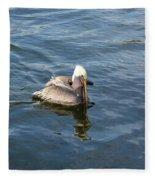 Pelican Eating Dinner Fleece Blanket