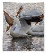 Pelican Having Supper Fleece Blanket