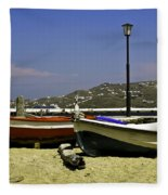 Pelican In Mykonos Fleece Blanket