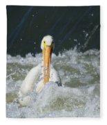 Pelican In Rough Water Fleece Blanket
