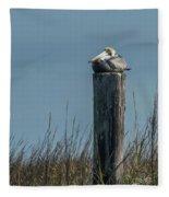 Pelican On A Piling Fleece Blanket