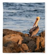 Pelican On The Rocks Fleece Blanket