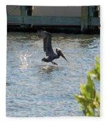 Pelican On The Waves Fleece Blanket