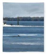 Pelican Porpoise And Fishermen Fleece Blanket
