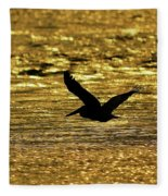 Pelican Silhouette - Golden Gulf Fleece Blanket