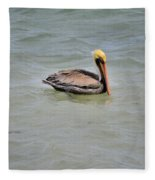 Pelican Swimming  Fleece Blanket