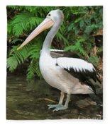 Pelican With A Bird Park In Bali Fleece Blanket