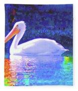 Pelican With Blue Fleece Blanket