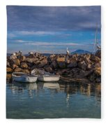 Pelicans At Eden Wharf Fleece Blanket