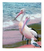 Pelicans At Pearl Beach 5.1 Fleece Blanket