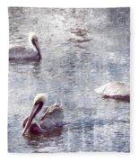 Pelicans At Rest Fleece Blanket