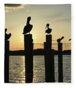 Pelicans At Sunset Fleece Blanket